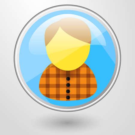 personal profile: vector color glass icon personal profile Man in orange shirt