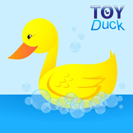 vector illustration of a toy duck in soap bubbles