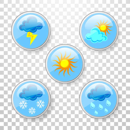 Set of color illustration of different weather icons