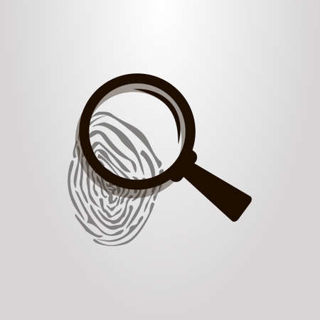 black and white simple vector icon of fingerprint and magnifying glass Banque d'images - 103757334