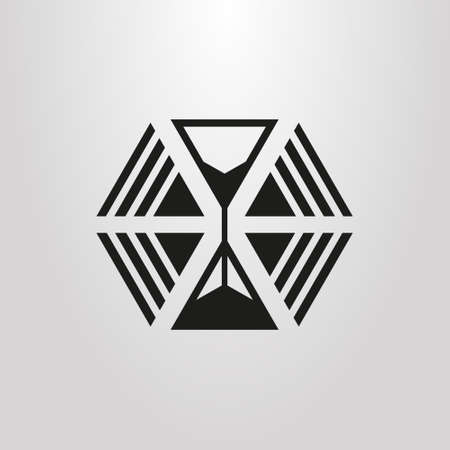 black and white simple vector abstract icon of triangles and hourglass