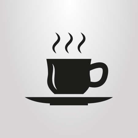 black and white simple vector cup of hot drink pictogram Ilustração
