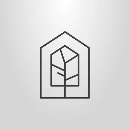black and white simple vector line art geometric pictogram of tree in a house-shape frame Vectores