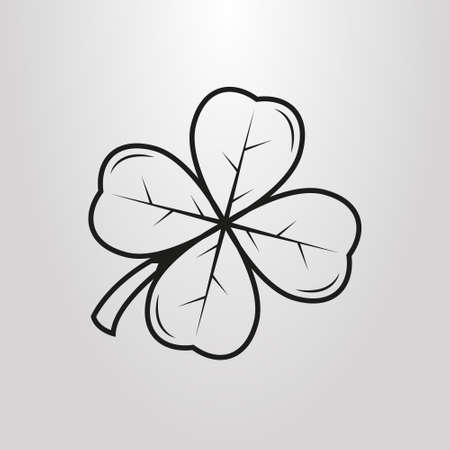 black and white simple vector art four-leaf clover pictogram Vettoriali