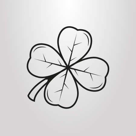 black and white simple vector art four-leaf clover pictogram Illustration