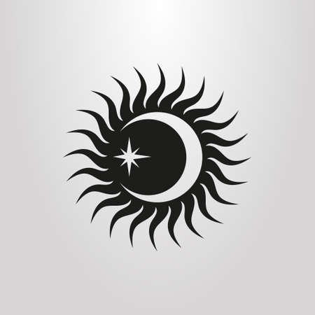 black and white icon with the sun moon and star