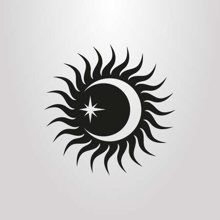 icône noir et blanc avec le soleil, la lune et l & # 39; étoile Vecteurs