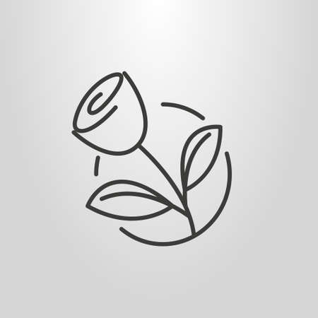 black and white simple vector line art pictogram of rose in a round frame