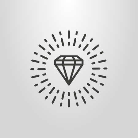 black and white simple vector line art pictogram of diamond with rays around