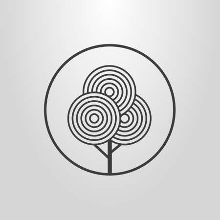 black and white line art abstract geometric pictogram of a tree in a round frame