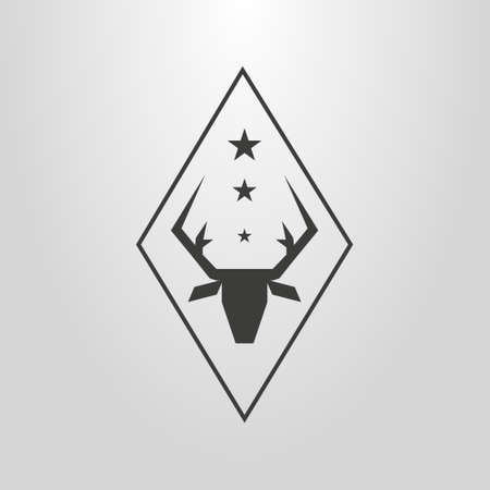 black and white simple vector pictogram of deer head under the three stars in a rhombus frame