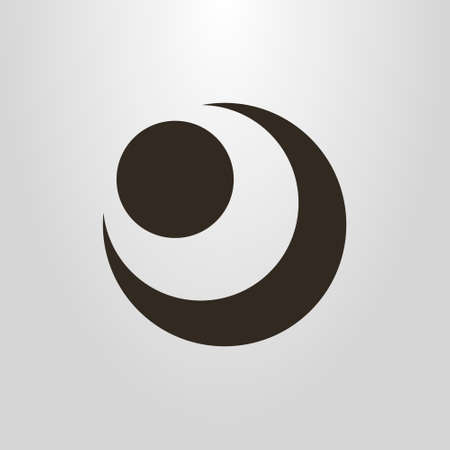 black and white simple vector pictogram of the abstract figure of the moon and sun