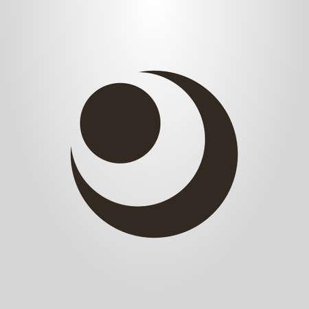 Pictograma de vector simple en blanco y negro de la figura abstracta de la luna y el sol