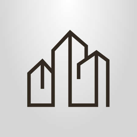 black and white simple vector line art geometric pictogram of three high-rise buildings