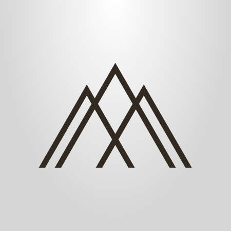 black and white simple geometric vector line art pictogram of three mountain peaks
