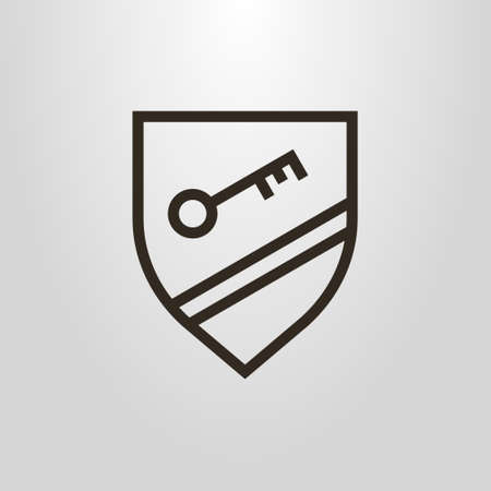 black and white simple vector line art pictogram of key on the shield with two strips Illustration
