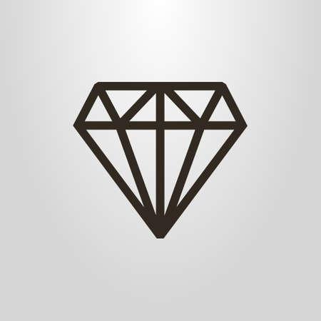 black and white simple geometric vector line art gem pictogram