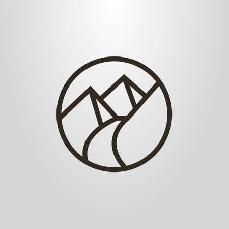 black and white round simple vector line art pictogram of the footpath in the mountains