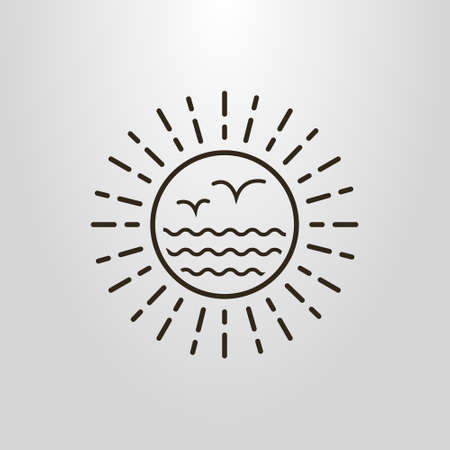 Black and white simple vector art abstract sun, sea and seagulls pictogram Illustration