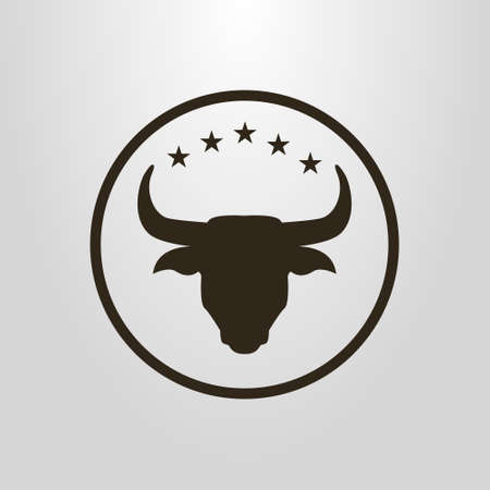 black and white simple vector pictogram of bull head under five stars in a round frame