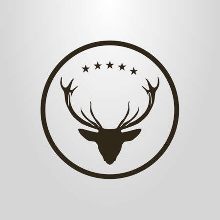 black and white simple vector pictogram of deer head under five stars in a round frame