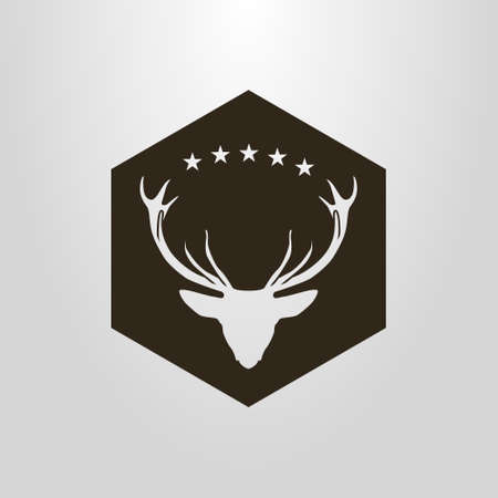black and white simple vector negative space pictogram of deer head under the five stars in a hexagon