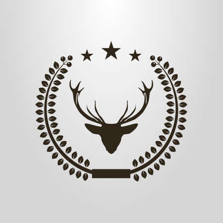black and white simple vector pictogram of the deer head in the laurel wreath