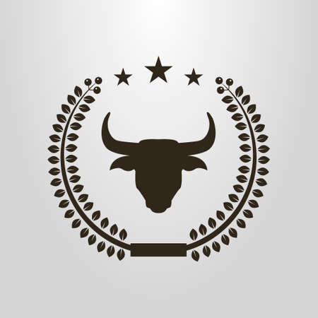black and white simple vector pictogram of the bull head in the laurel wreath