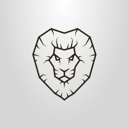 Black and white simple vector line art pictogram of lion head Vectores