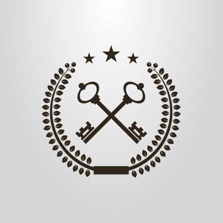 Black and white simple vector symbol of crossed retro style keys in laurel