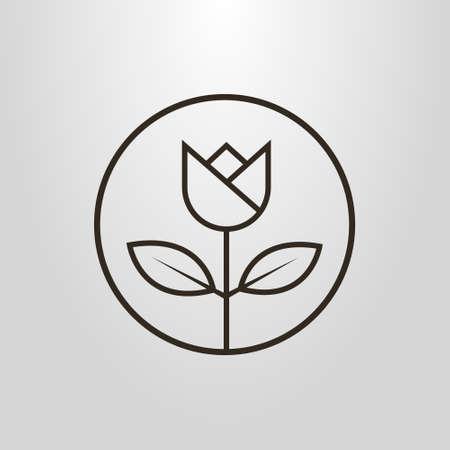 blanco y negro simple vector de arte de la línea del arte de una flor en un marco redondo