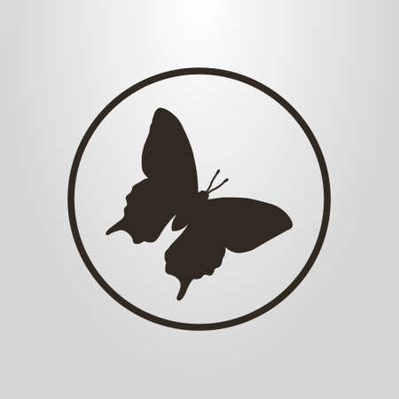 Black and white simple vector symbol of butterfly in a round frame Illustration