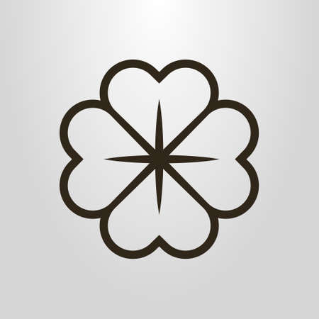 Black and white simple vector line art symbol of four-leafed clover