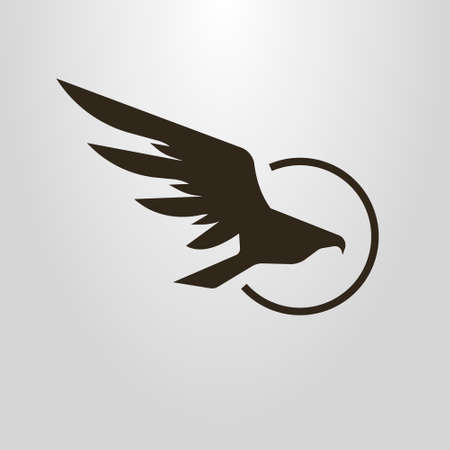 Black and white simple vector symbol of flight hawk Illustration
