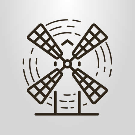 Black and white simple vector line art logo of the windmill