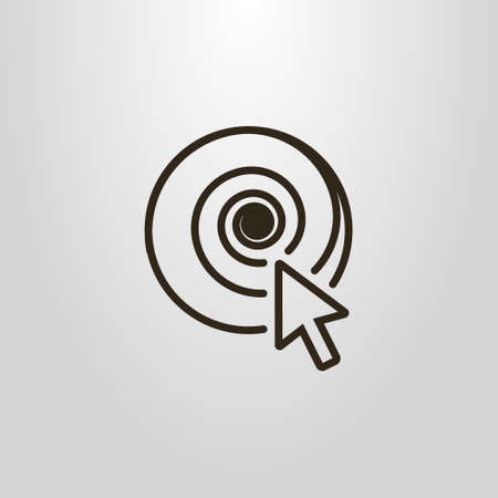 Black and white simple vector symbol of the cursor and a spiral
