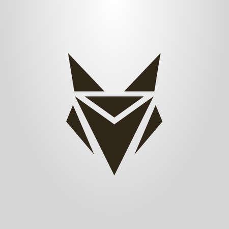 Símbolo de vector simple blanco y negro de una cabeza de zorro abstracto geométrico Ilustración de vector