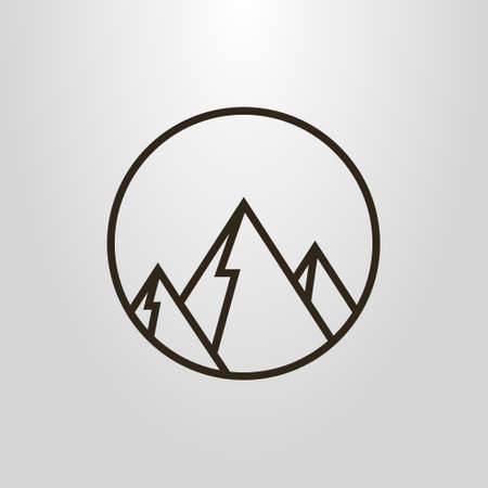 Black and white geometric line art symbol of mountain peaks in the round frame
