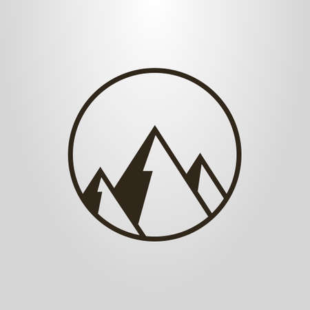 Black and white simple vector geometric symbol of mountains in a round frame 일러스트