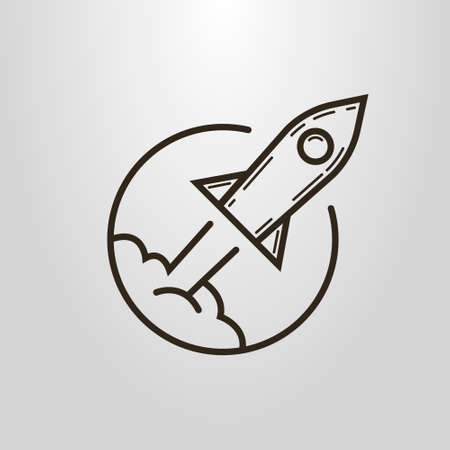 Black and white simple vector line art symbol of cartoon flying rocket in the round frame Çizim