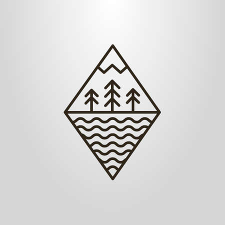 Black and white simple vector line art geometric symbol of forest mountain and water waves Illustration