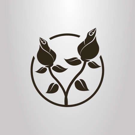 simbolo di vettore semplice bianco e nero di due rose intrecciate in una cornice rotonda