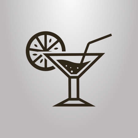 black and white simple vector symbol of a cocktail glass with lemon slice