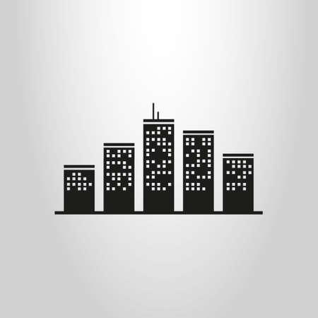 einfaches Schwarz-Weiß-Symbol für Hochhäuser im Stadtbild