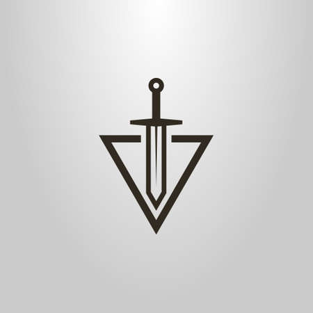 black and white simple vector modern symbol of sword cutting into a triangle