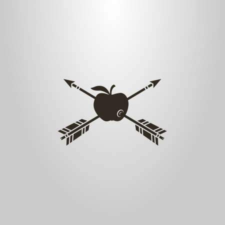 black and white simple vector symbol of two arrows pierced an apple