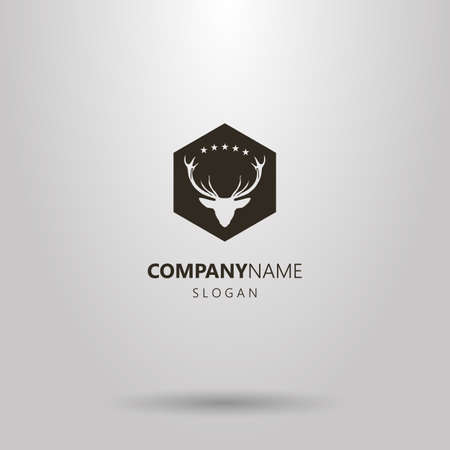 black and white negative space simple vector negative space hexagon deer head logo