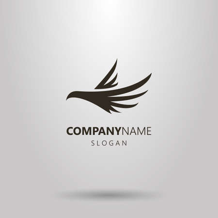 Black and white simple vector abstract logo of flying bird