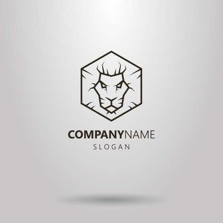 Black and white simple vector hexagon line art lion head logo