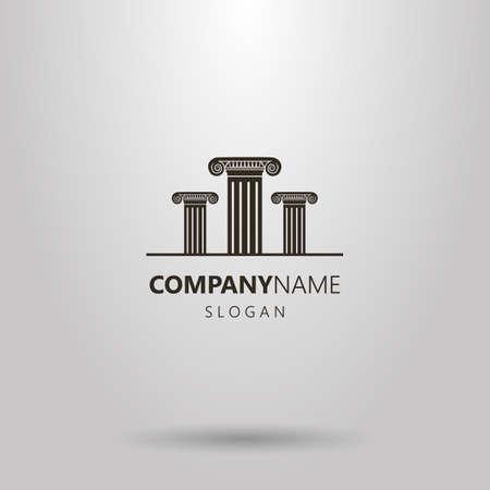 Black and white simple vector logo of three Roman columns